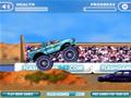 Jogo Online - Dirija um veículo Monster Truck em diversas pistas superando todos os obstáculos e rampas que estiver em seu caminho! Sempre recolha os itens para obter mais dinheiro e atualizar o seu carro, menos o item com formato de caveira que diminui a sua energia.
