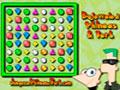 Bejeweled Phineas Ferb - Ajude o Phineas e Ferb nesse jogo de bejeweled. Reúne três ou mais pedras iguais para marcar pontos, seja rápido para completar tudo antes do tempo acabar.