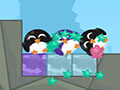 Colorful Penguins - Use a lógica do jogo para solucionar os quebra-cabeças. Corte as cordas que os pinguins estão presos para solta-lós, observe bem antes de qualquer ação nas cores de cada um para caírem nelas e completar a fase.
