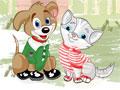 Jogo Cut pet dressup, Vamos vestir os amiguinhos Dog e Cat para eles irem passear, brincar, divertir e curtir o seu lindo dia no parque.