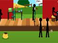 Death Theater - Observe o palco e clique corretamente nos sticks. Para ocorrer toda a ação encontre objetos para serem usados um contra outro.