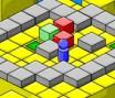 Mova as caixas para os quadrados coloridos, podendo mover apenas duas peças de cada vez.