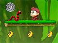 Jumping Bananas - Ajude o macaquinho a recolher as bananas. Pule sobre a plataforma e pegue o maior número de frutas e moedas possíveis, tenha cuidado com as cobras para não perder vida.