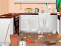Kitchen Room Cleaning -  Sua cozinha está uma bagunça sem fim. Recolha todos os itens espalhados pelo chão, colocando cada um em seu respectivo lugar.