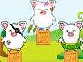 Piggy Landing - Retire todos os obstáculos do cenário. Sua tarefa é colocar os porquinhos em segurança no chão, para isso clique sobre os objetos com cuidado para concluir cada estágio.