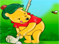 Pooh Bear And Golfer - Escolha um dos personagens do Pooh para uma rodada de golfe. Calcule o ângulo e a força necessária para acertar a bola no buraco, tente em poucas alternativas acertar o alvo.