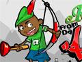Jogo Robin Hood, seu objetivo é eliminar os inimigos da outra base com seus tiros, aguardo sua vez de atacar e faça belos tiros certeiros, tome muito cuidado para não ser atingido, divirta-se!