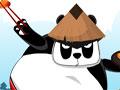 Jogo Samurai Panda - Com seu panda faminto recolha itens pelo cenário. Calcule a força necessária para que o samurai consiga pegar os sushis e outras peças que estão no alto, tente não desperdiçar suas tentativas em cada fase.