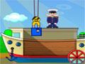 Ship Loader - Coloque as caixas dentro dos barcos. Com ajuda de um guindaste pegue os caixote e empilhe na área de cargas, mais tenha cuidado para não desequilibrar a embarcação.