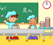 Clique nas personagens para colocar a tijela no tabuleiro e enchê-la com sopa.