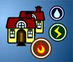 Ligue a água, a eletricidade e o gás as três casas sem que as ligações se cruzem.