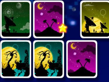 Twin Nights - Encontre rapidamente os pares nas cartas. Observe bem para não esquecer a posição de cada uma, quanto mais ágil você for mais ponto terá.