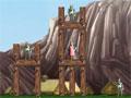 Viking War - Detone todos os prédios dos vikings. Com sua catapulta mire e atire no alvo para destruir tudo, calcule a força necessária para que com apenas uma tentativa complete sua missão.
