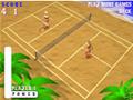 Jogue uma boa partida de tênis na praia com duas loiras.